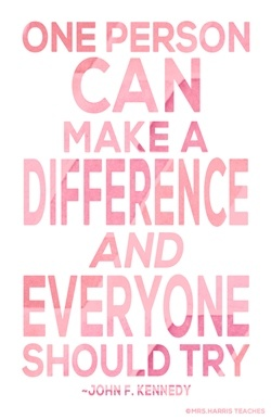Mrs-Harris-Teaches-Heart-Make-A-Difference-Pink-Poster